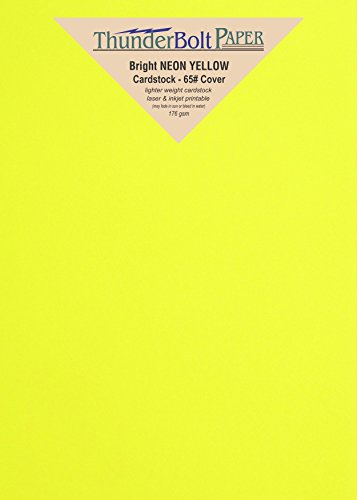100 Bright Neon Yellow Fluorescent Color Cardstock - 5.5'' X 8.5'' (5.5X8.5 Inches) Half Letter | Statement Size - 65# lb/pound Light Card Weight Cover Paper - Quality Printable Smooth Surface Sheets by ThunderBolt Paper