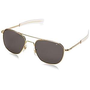 AO Eyewear Original Pilot Sunglasses 57mm Gold Frames with Bayonet Temples and True Color Grey Glass Lens (OP57G.BA.TC)