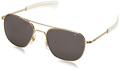 AO Eyewear Original Pilot Sunglasses 57mm Gold Frames with Bayonet Temples and True Color Grey Glass Lens - For Men Pilot Sunglasses