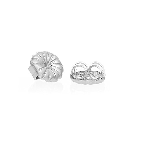 14k White Gold Earring Back Replacement Secure and Comfortable with Ear Locking Tension Grip Tight Nut (Small) by Art and Molly