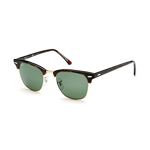 Ray Ban RB3016 W0366 51mm Clubmaster Sunglasses Havana / Crystal Green - Gold Ban Tortoise Clubmaster Ray