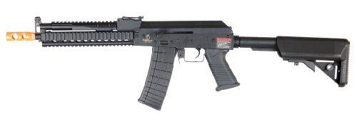 lancer tactical lt-11 beta project ak-47 ris electric airsoft gun full metal body & gearbox fps-380 w/ high capacity magazine (black)(Airsoft Gun)