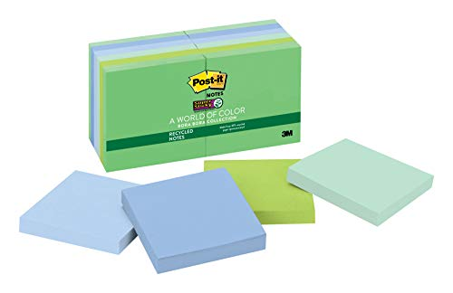 (Post-it Recycled Super Sticky Notes, 2x Sticking Power, 3 in x 3 in, Bora Bora Collection, 12 Pads/Pack (654-12SST))