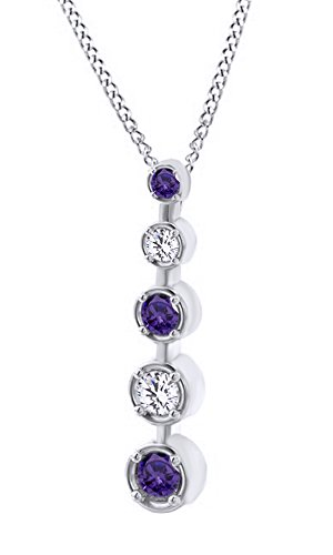 (AFFY Simulated Amethyst & White Sapphire CZ Journey Pendant Necklace in 14k Solid White Gold (0.45 Cttw))