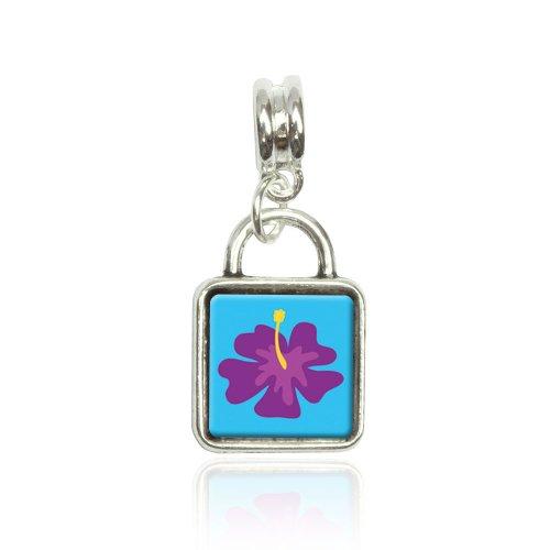 Tropical Flower Hibiscus Purple Euro European Italian Style Bracelet Bead Sqr Charm