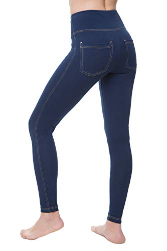 NIRLON High Waist Jegging Jean Look Leggings with Back Pockets (M,Jeans) ()