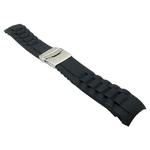26mm Black Silicone Watch Band Rubber Replacement Bracelet Shape Sport Watch Strap with Silver Deployment Clasp ()