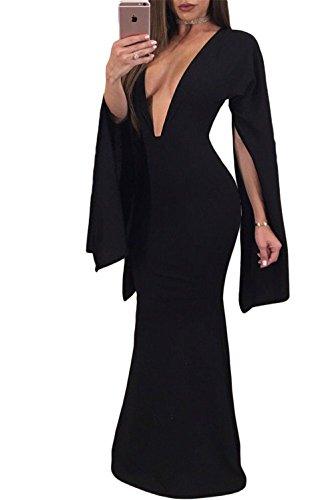 Women Sexy Plunge V Neck Low Cut Back Flare Split Long Sleeve Long Maxi Boho Dress Formal