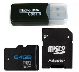 TARJETA MICRO SD 64 GB + ADAPTADOR SD + ADAPTADOR USB: Amazon.es ...