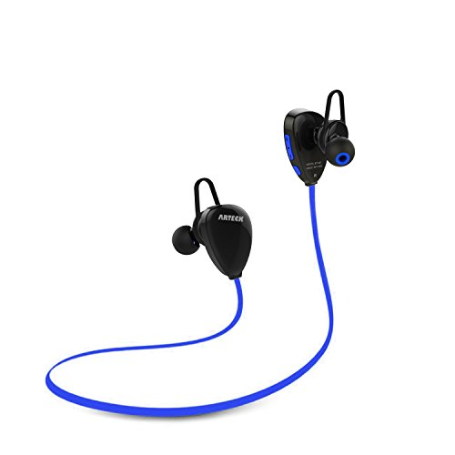 Price comparison product image Arteck Wireless Bluetooth Headphones for Running Sports Portable Earphones with Rechargeable 15 Hours Playing Battery for iPhone X 8 Plus 8 7 Plus 7 SE 6 Plus 6 5 4, iPod, Android Smart Phones-Blue