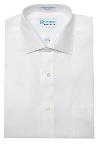 Mens 100% Cotton Non Iron White Pinpoint Barrel Cuff Dress Shirt (14.5, 32/33)
