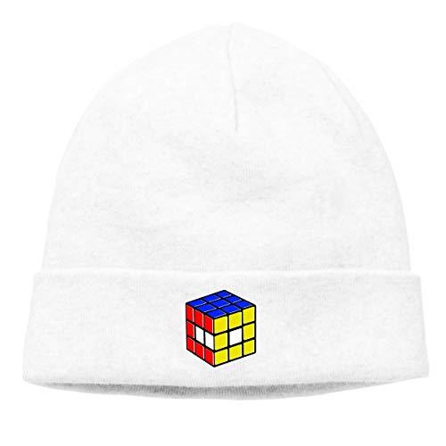 Hip-Hop Knitted Hat for Mens Womens Rubik's Cube World Unisex Cuffed Plain Skull Knit Hat Cap Head Cap -