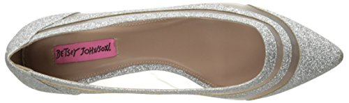 Betsey Johnson Women's Annette Pointed Toe Flat Silver Glitter HV4UI