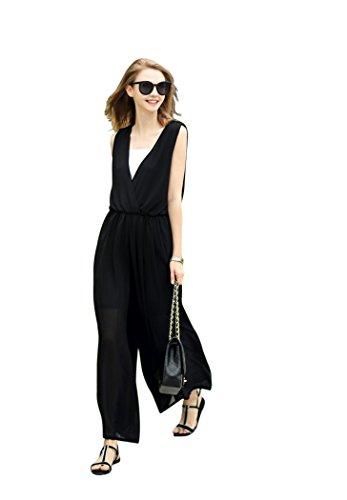 [해외]부드럽게 쉬폰 유명인 올인원 f18 뽀 빠이 바지 여성 바지 검정 블랙 / Fluffy Chiffon Celebrity All-in-One F18 Saropet Ladies Pants Black Black