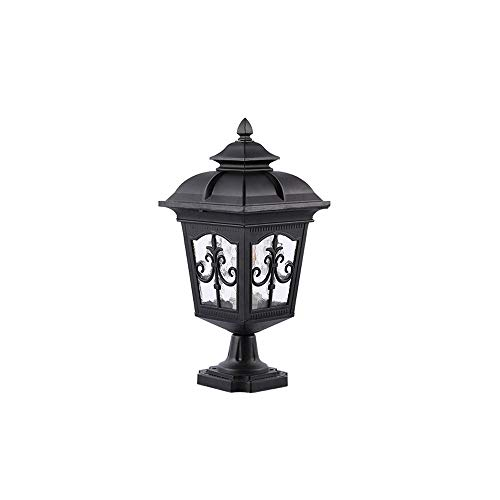 KMYX European Vintage Post Bollard Super Bright Light Lamp Luxury Colonial Outdoor Pillar Lantern Stair Yard Driveway Path Waterproof Courtyard Lamp (Color : Black, Size : B)
