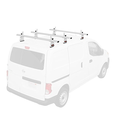 "AA-Racks Model AX302-NV Compatible Nissan NV200(2013-On) Aluminum 3 Bar (60"") Van Roof Rack System w/ Ladder Stopper White"