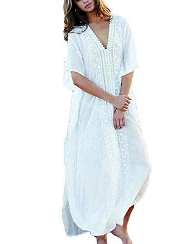 Bsubseach White Beach Kaftan Dresses for Women V Neck Batwing Sleeve Loose Swimsuit Bikini Cover up Dress Swimwear