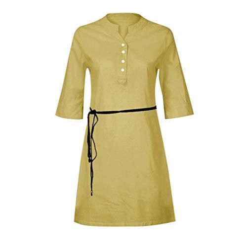 camicia cachi V scollo Casual a 2018 pulsanti Women mezza tasca con Summer manica Dogzi autunno abiti Dress donna FC4AFwq