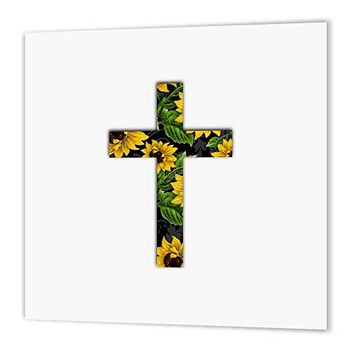 Yellow Cross Pattern (3dRose ht_185475_2 Sunflower Pattern Christian Cross Black and Yellow Floral Crucifix Iron on Heat Transfer, 6 by 6-Inch, for White Material)