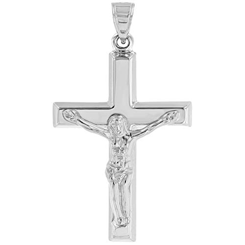- 14k White Gold Roman Catholic Cross Crucifix with Jesus Christ Pendant
