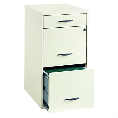 "Hirsh Industries 18"" Deep 3 Drawer Steel File Cabinet in White"