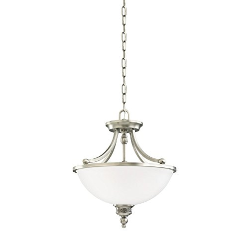 Sea Gull Lighting 77350-965 Laurel Leaf Two-Light Semi-Flush Convertible Pendant with Etched Ripple Glass Shade, Antique Brushed Nickel (Antique Brushed Nickel Convertible)