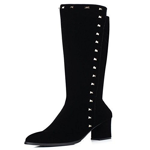 High DecoStain Leather Suede Women's Nubuck Knee Boots Zip Faux Black fxw60ra4xn