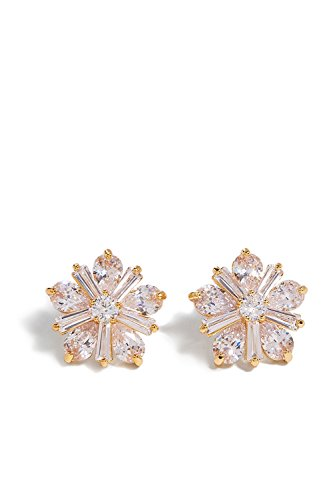 (Flower Stud Earrings With Crystals Floral Ear Studs Filigree Vintage Earring Set (golden, daisy))