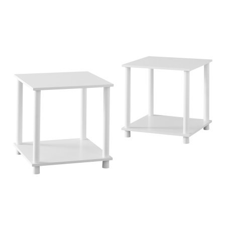 Traditional and Sleek 2 Shelves No Tools 2 X 1 Cube End Table (White) by MattsGlobal
