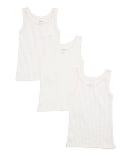 Amoureux Bebe Girls Cami Undershirts- Tagless Cotton Tank Tops-Pink/White, 3 Pk (8-9 Yrs) by Amoureux Bebe (Image #1)