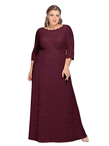 Alicepub Lace Wedding Dress Plus Size Long Formal Dresses Evening Gowns for Mother of The Bride, Burgundy, US22