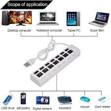 All Hi-Speed 2.0 hot Plug in Play 4 Ports USB 4 Ports USB Pack 7 Ports USB with Switch White