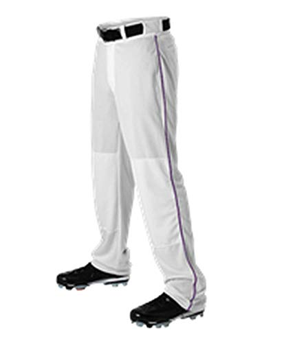 Alleson Adult Baseball Pant with Braid White, Purple M 605WLB 605WLB-WHPU-M ()
