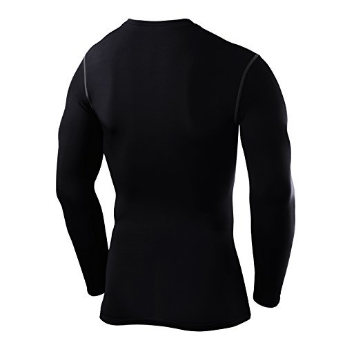PowerLayer Men's Boys Compression Base Layer Top Long Sleeve Thermal Under Shirt -Black Small Boy (6-8 Years) by PowerLayer (Image #2)