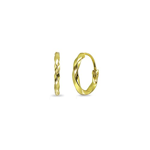 Yellow Gold Flashed Sterling Silver Twist Tiny Small Endless 12mm Round Lightweight Unisex Hoop Earrings