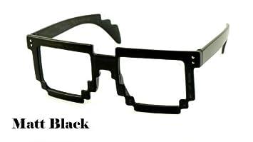2c10405d1edc Designer inspired 80s Vintage Retro Style Unisex 8-Bit Pixelated Geek Nerd  Black Fancy Glasses