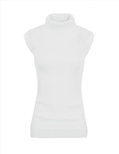 v28 Women Sleeveless High Neck Turtleneck Stretchable Knit Sweater Top-M,White