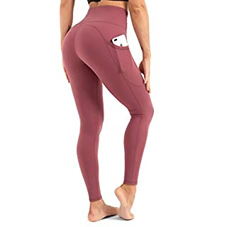 CLUCI High Waist Yoga Leggings for Women with Pockets Workout Pants Tummy Control Non-See Through 4 Way Stretch Pale Red Violet Small(S)