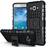 M.G.R Hard Armor Hybrid Rubber Bumper Flip Stand Rugged Back Case Cover for Samsung Galaxy Grand Prime G530 - Black