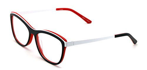 - Women 2 Tone Cateye Fashion Non-prescription Acetate Glasses Frame /w Metal Temple - Clear Lens Eyeglasses Rx'able (Red)