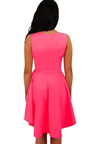Nueva mujer de color rosa arriba y abajo Hemline–skater Dress Prom Vestido Noche Fiesta wear plus tamaño S UK 8–�?0EU 36–�?8