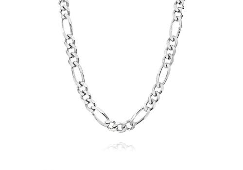 Verona Jewelers 7MM 925 Sterling Silver Classic Figaro Chain - Italian Necklace Figaro Chain (22) ()