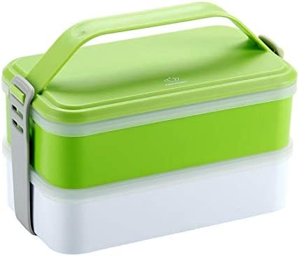 Portable Lunch Box, Double-quality Plastic Boxes, Lidded Simple Adult Microwave Lunch Box, Green practical (Color : Green, Size : 1200ml)