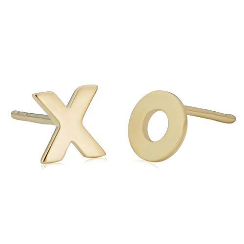 14k Yellow Gold Xo Hugs And Kisses Stud Earrings