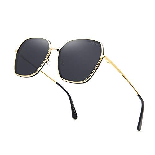 LECKIRUT Oversized Polarized Sunglasses for Women Retro Irregular Vintage Designer Style Shades P56 Gold Frame Gray Lens