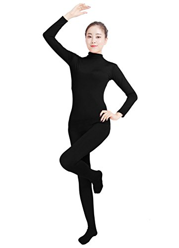 Ensnovo Womens Lycra Spandex Zentai Suits One Piece Footed Unitard Black,L