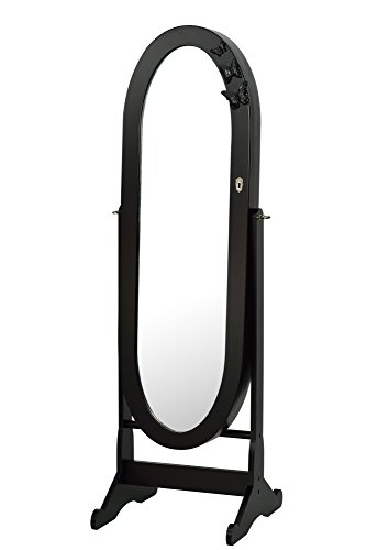 ViscoLogic Oval Mirrored Jewelry Cabinet Armoire Stand, Mirror, Necklaces, Bracelets, Rings DARK BROWN