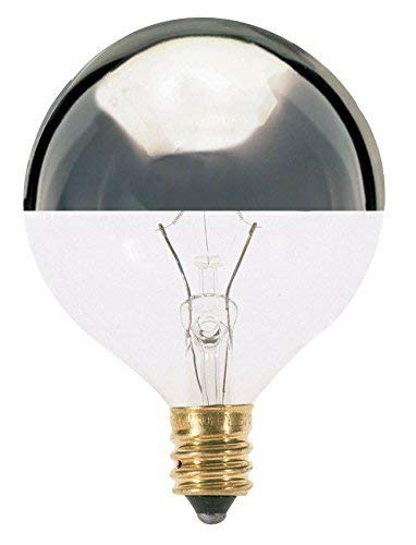 Satco 25G16 1/2/SL Incandescent Globe Light, 25W E12 G16 1/2, Silver Crown Bulb [Pack of 24]