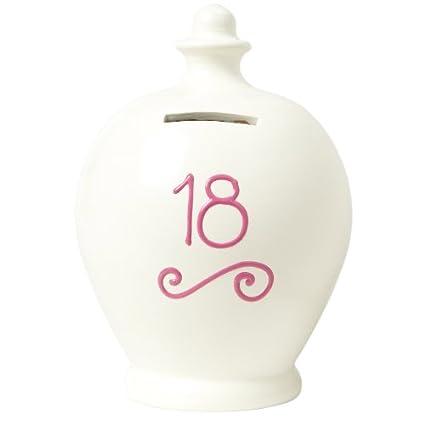 Terramundi Money Pot-Salvadanaio con numero 18scritto in rosa S1, colore: panna