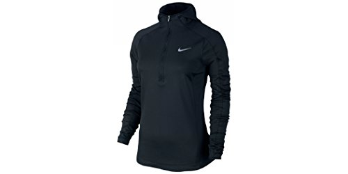 Nike Women's Dri-FIT Thermal Hoodie, Black/Reflective Silver, LG